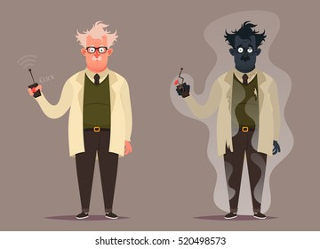 Funny Cartoon Character. Mad Professor Before and After Doing Scientific Experiment (Burned). Vector Illustration