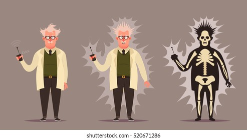 Funny Cartoon Character. Mad Professor Doing Experiment (Electroshock). Vector Illustration