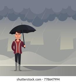 Funny Cartoon Character. Man Standing Under the Rain. Vector Illustration