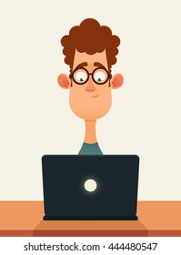 Funny Cartoon Character. Nerd Working with Laptop. Vector Illustration