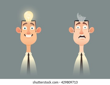 Funny Cartoon Character. Office Worker with Broken and Unbroken Light Bulb Inside His Head. Vector Illustration