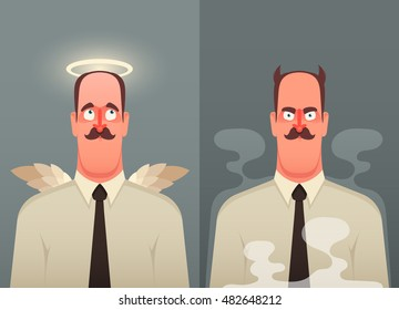 Funny Cartoon Character. Office Worker: Good and Bad. Vector Illustration