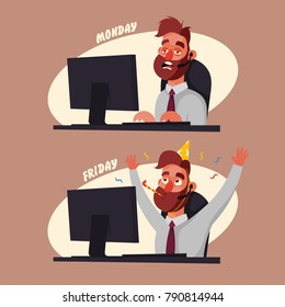 Funny Cartoon Character. Office Worker on Monday and Friday. Vector Illustration