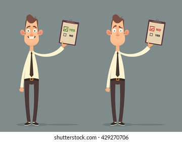 Funny Cartoon Character. Office Workers Holding Documents: Approved and Denied. Vector Illustration