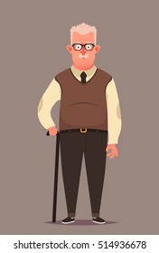 Funny Cartoon Character. Old Man with Walking Stick. Vector Illustration