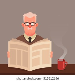 Funny Cartoon Character. Old Man Sitting and Reading Newspaper. Vector Illustration