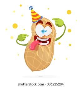 Funny cartoon character peanuts in a celebratory cap