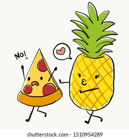 Funny cartoon character, Pizza and pineapple, for T-shirt graphic/sticker. Food joke. pizza run away from pineapple, said No to pineapple on pizza.