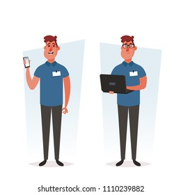 Funny Cartoon character. Repair Technician with Phone and Laptop. Service Center Worker. Vector Illustration