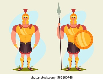 Funny Cartoon Character - Roman Soldier. Vector Illustration