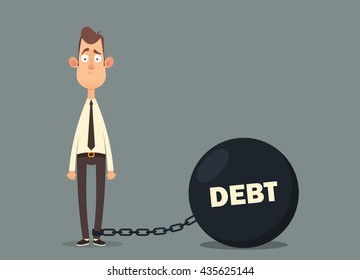 Funny Cartoon Character. Sad Office Worker with a Big Debt Weight. Vector Illustration