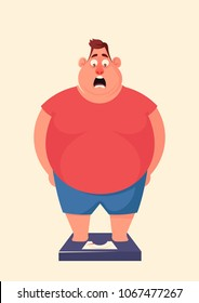 Funny Cartoon Character. Shocked Fat Man Standing on Scales. Vector Illustration