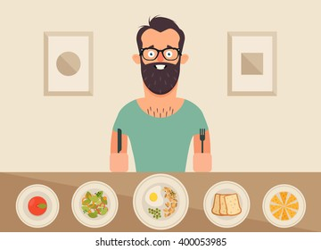 Funny Cartoon Character Sitting and Eating Breakfast. Vector Illustrations