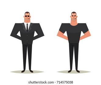 Funny Cartoon Character: Strong Bodyguard. Vector Illustration