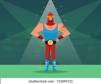 Funny Cartoon Character: Strong Luchador. Vector Illustration