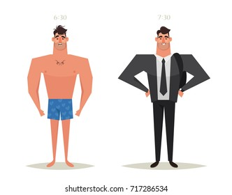 Funny Cartoon Character. Strong Man: Sleepy and Ready to Work. Vector Illustration