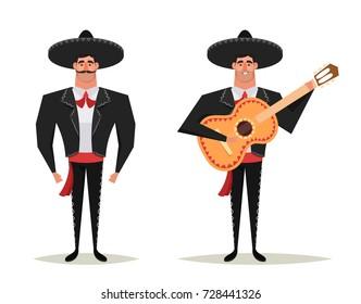 Funny Cartoon Character: Strong Mexican Mariachi Musician. Vector Illustration