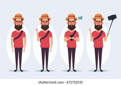 Funny Cartoon Character - Stylish Hipster. Vector Set