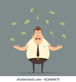 Funny Cartoon Character. Successful Office Worker Standing Under the Rain of Money. Vector Illustration
