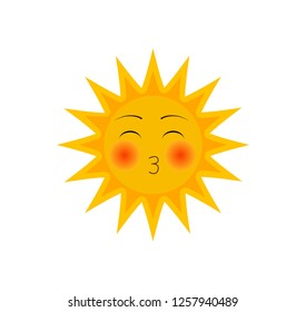 funny cartoon character of sun with ruddy cheeks with kissing mouth