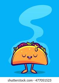 Funny Cartoon Character. Tasty Taco. Colorful Vector Illustration