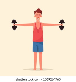 Funny Cartoon Character. Thin Man Doing Sport Exercises with Dumbbells. Vector Illustration