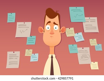 Funny Cartoon Character. Tired Office Worker. A Lot of Short Notes for Urgent Work on Background. Colorful Vector Illustration