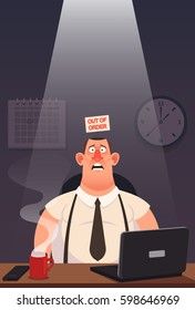"Funny Cartoon Character. Tired Worker Sitting in His Office. ""Out of Order"" Sign Inside His Head. Vector Illustration"