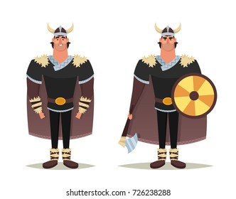 Funny Cartoon Character: Viking. Vector Illustration