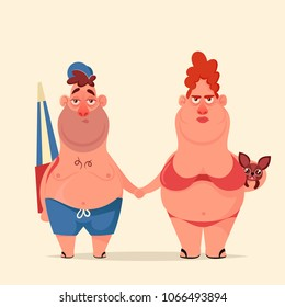 Funny Cartoon Character. Wife and Husband Going to the Beach. Vector Illustration