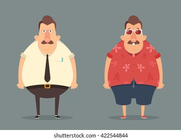 Funny Cartoon Character: Work and Vacation. Vector Illustration