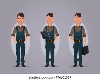 Funny Cartoon Character - Worker. Vector Illustration