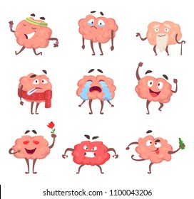 Funny cartoon characters. Brain in action poses angry and drunk, love and sick, vector illustration