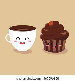 Funny cartoon characters coffee cup and muffin. Vector illustration flat design.