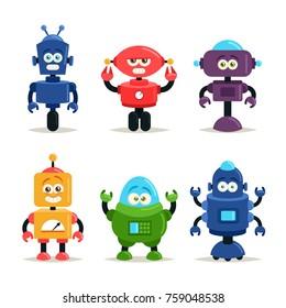 Funny Cartoon Characters. Cute Robots. Vector Set