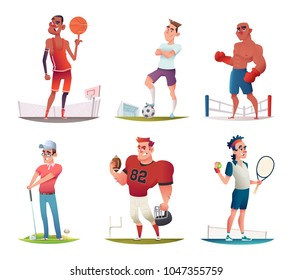 Funny Cartoon Characters design. Vector illustration set