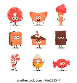Funny Cartoon Characters: Desserts. Vector Set
