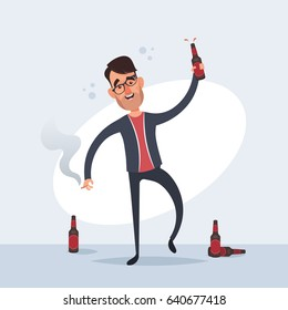 Funny Cartoon Characters - Drunk Man. Vector Illustration
