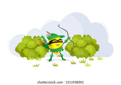 Funny cartoon characters fruits in superhero costumes at masks lemon food emotion. Vegetable character product fun food costume vector illustration isolated