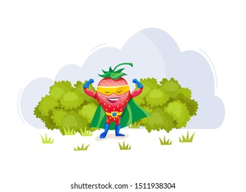 Funny cartoon characters fruits in superhero costumes at masks strawberries food emotion. Vegetable character product fun food costume vector illustration isolated
