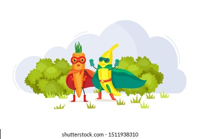 Funny cartoon characters fruits in superhero costumes at masks carrots and banana food emotion. Vegetable character product fun food costume vector illustration isolated