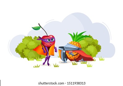 Funny cartoon characters fruits in superhero costumes lovers cherry and pineapple. Fruit together, pineapple confesses love to cherry vegetables character vector illustration