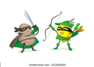 Funny cartoon characters fruits in superhero costumes. Superheroes potato and lemon fight together vector illustration