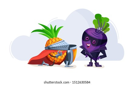 Funny cartoon characters fruits in superhero costumes lovers plum and pineapple. Fruit together, pineapple confesses love to plum vegetable character vector illustration
