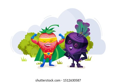 Funny cartoon characters fruits in superhero costumes. Strawberry character shows muscles, his strength. Delighted plum standing nearby vegetable vector illustration