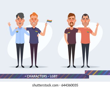 Funny Cartoon Characters - Gay Couple Concept. Vector Illustration