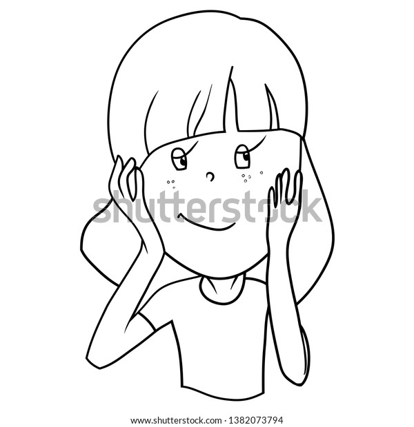 Funny Cartoon Characters Girls Expression Emotions Stock Vector