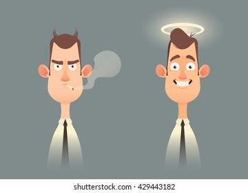 Funny Cartoon Characters. Good and Bad Office Workers. Vector Illustration
