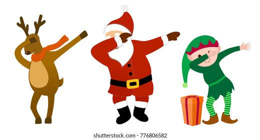Funny cartoon characters, Santa Clause, reindeer, Christmas elf, making dab move, dancing hip hop style, young teenage culture for holiday greeting design, web graphics, party invitation, etc.