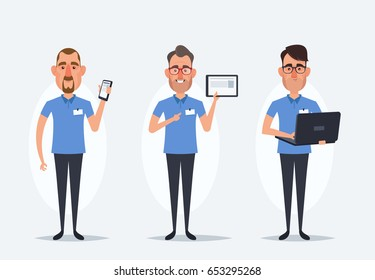 Funny Cartoon Characters. Sellers with Phone, Tablet and Laptop - Vector Set